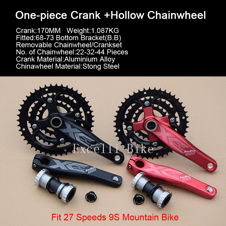 Excelli One-piece Crank+Chainwheel Suit 170mm Aluminium Crankset 27Speeds 9S Mountain Bike26 Bicicleta Mountain Bicycle Parts west biking bike chain wheel 39 53t bicycle crank 170 175mm fit speed 9 mtb road bike cycling bicycle crank