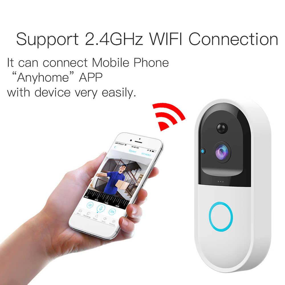 WiFi дверной звонок беспроводная домашняя Камера Безопасности HD 720 P визуальный с 166 градусным объективом PIR Обнаружение движения ночное видение двусторонний разговор