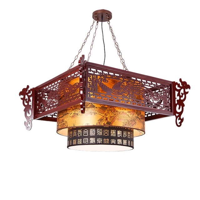 lamps Chinese style antique wood sheepskin chandelier hotel restaurant  teahouse China lighting chandelier wind dragon send - Lamps Chinese Style Antique Wood Sheepskin Chandelier Hotel