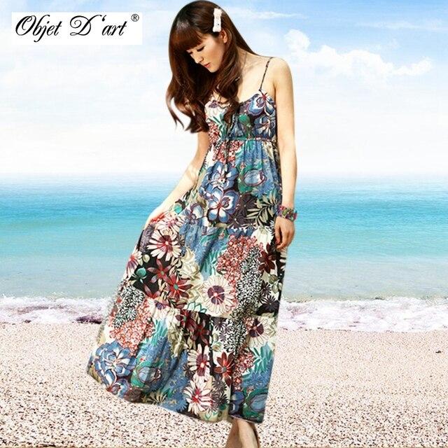f5c437edec Summer Long Dresses Women Beach Boho Dress Off Shoulder Spaghetti Strap  Vintage Floral Print Maxi Dress Girl's Cotton Sexy Dress