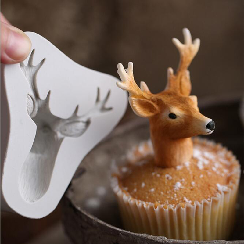 3D Silicone Form Deer Head Mould Cake Baking Chocolate Christmas Deer Stags Heads Silicone Fondant Cake Mold Decorating Tools