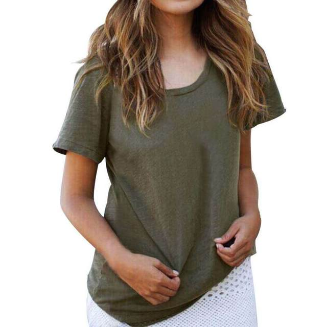 Army Green Women T Shirt Lady Top T shirt Summer Woman Casual T-shirt Tee  Femme Vogue T-shirt 2017 bafcdf2195