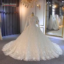 Vestidos de novia 2019, vestido de novia musulmán con flores, vestido de novia de encaje completo