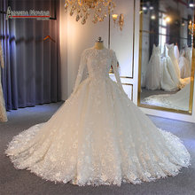 wedding gowns 2019 muslim wedding dress with flowers full lace bridal dress