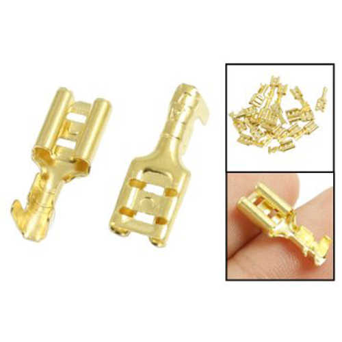 JFBL offre spéciale 20 pièces borne à sertir en laiton doré 6.7mm connecteurs femelles