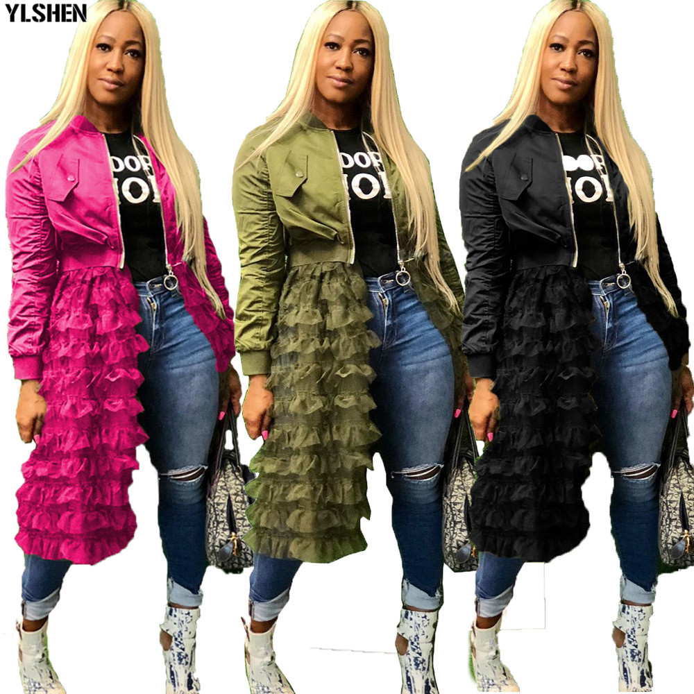 Plus Size African Dresses For Women 2019 New Fashion Clothes Long Sleeve Zipper Jacket + Gauze Lace African Skirt Dashiki Dress