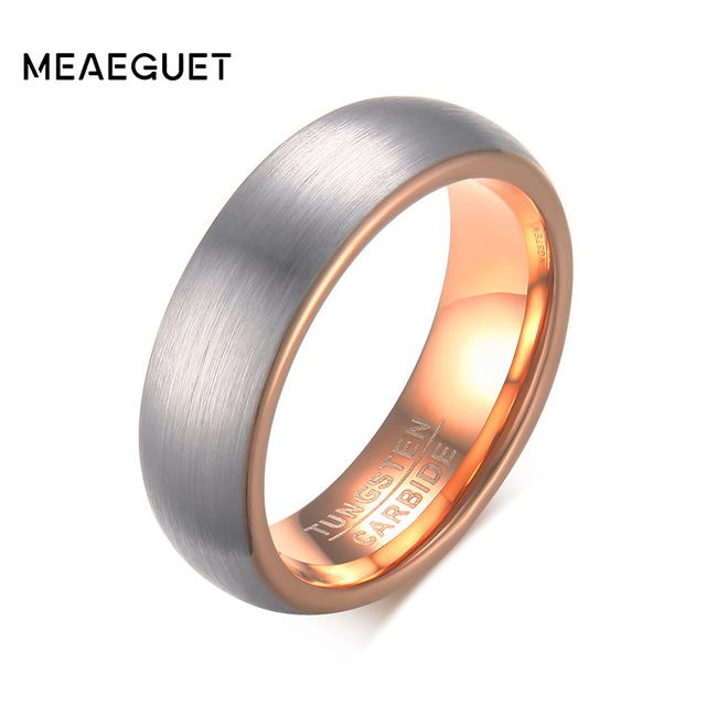 Meaeguet 6mm Wide Rose Gold Color Tungsten Carbide Wedding Band Rings For Women Matte Finished Jewelry