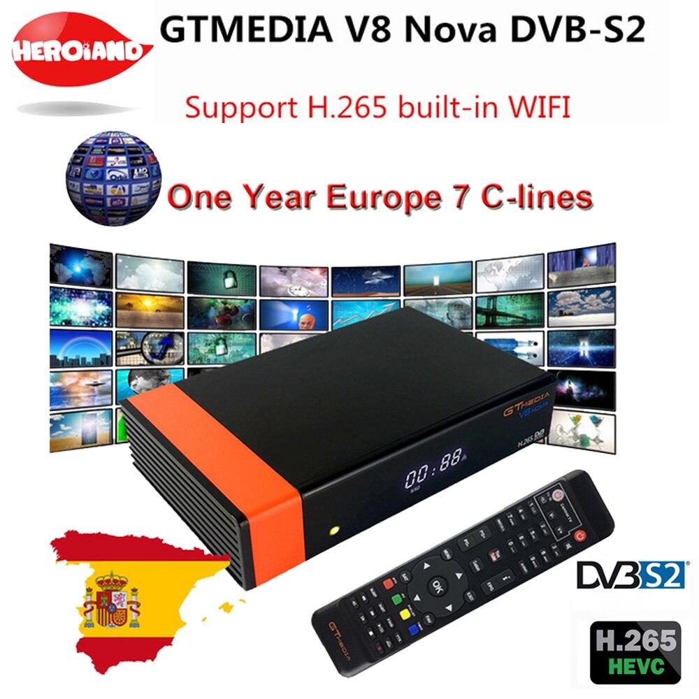 GT Media V8 Nova DVB-S2 Freesat Satellite Receiver V8 Super New Version H.265 WIFI+1Year Europe Spain PT DE PO Clines TV decoder gtmedia v9 super dvb s2 freesat satellite receiver v8 super new version h 265 wifi 1year europe spain pt de po cccam tv decoder