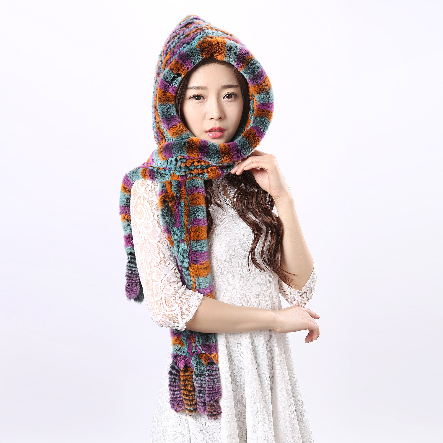 Genuine rabbit fur women lady scarf hat dual-use ladies warm winter fashion hat girl scarf very popular rabbit hair lady autumn winter new weaving small pineapple fur hat in winter to keep warm very nice and warm comfortable