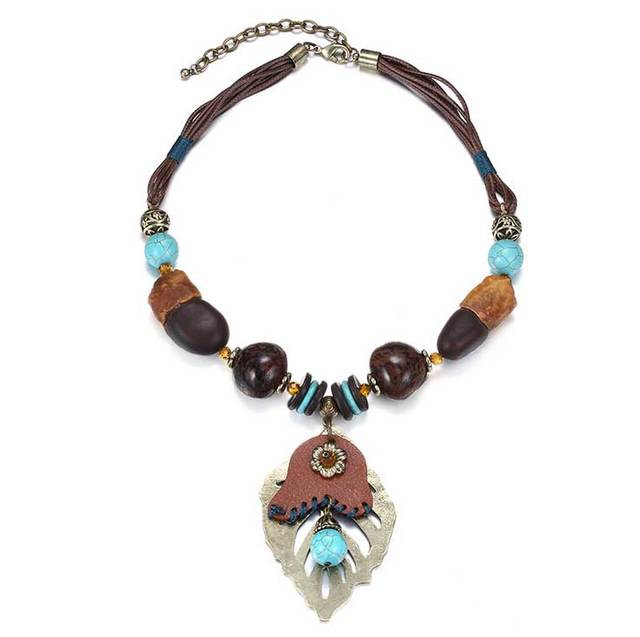 Ethnic Vintage Wax Rope Acrylic Bead Turquoise Pendant Necklaces Collares Populares Collares Statement Choker Necklace Wholesale