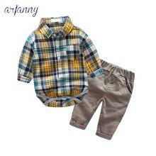 3-24M Baby Boys Clothes Autumn baby boy set bodys bebes cotton Plaidshirt +Corduroy trousers+body 2piece newborn clothing