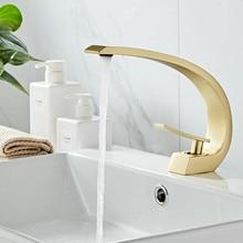 Bathroom Basin Faucet Brass Lavatory Sink Mixer Tap Hot & Cold Toilet Basin Faucet Brushed Gold Unique Design Bathroom Crane Tap все цены