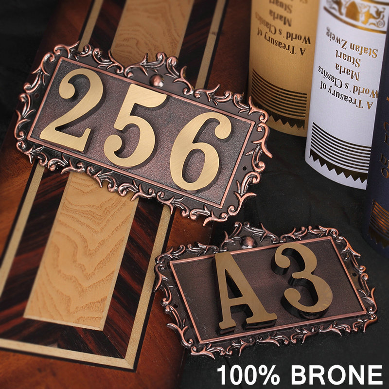 Number of House Room Gate European Style Classic 100% Brone Brass Custom-made Number Letter Customized Hotel Door Plate Hotel 2016new room house number free shipping number bar number coffer shop number door part