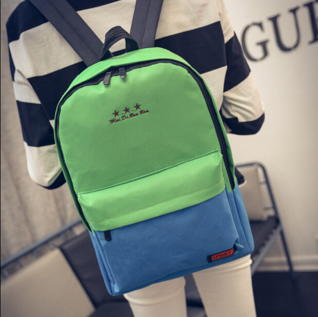 Korean fashion canvas student school bag big space preppy style contrast color traveling bag for young