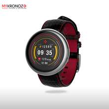 Смарт часы ZeRound2HR Premium цвет матовое серебро, ремешок цвет черный карбон с красной прострочкой