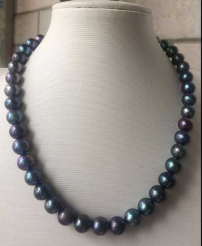 fine jewelry  genuine natural round tahitian black pearl necklace 18inch 14K gold