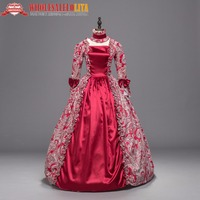 Red Georgian Renaissance Princess Dress Gothic Masquerade Ball Gown Theater Costume