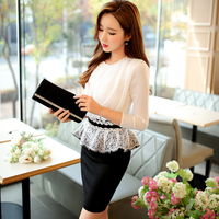 Dabuwawa Spring Dress 2017 Slim Elegant Casual Stitching Lace Black And White Office Dresses Women Pink