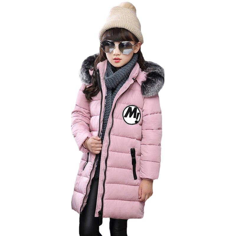 Ceket Kız Rahat Çocuk Parka Kış Ceket Orta-Uzun Pamuk Kalın Kürk Kapşonlu Çocuk Kış Ceket Kız Giyim Için YRF240
