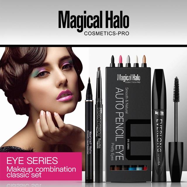 Fashion Eye makeup combination 4 sets makyaj malzemeleri seti eye shadow pen + eyebrow pencil + eyeliner pen + mascara Cosmetic
