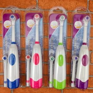 Image 2 - 1 brosse à dents électrique avec 2 têtes de brosse hygiène buccale à piles pas de brosse à dents Rechargeable pour les enfants