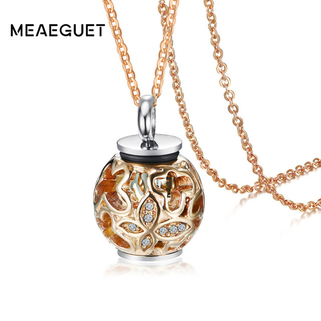 Meaeguet rose gold color cremation initial necklace leaves with meaeguet rose gold color cremation initial necklace leaves with crystal rhinestone charm urn memory ashes aloadofball Choice Image