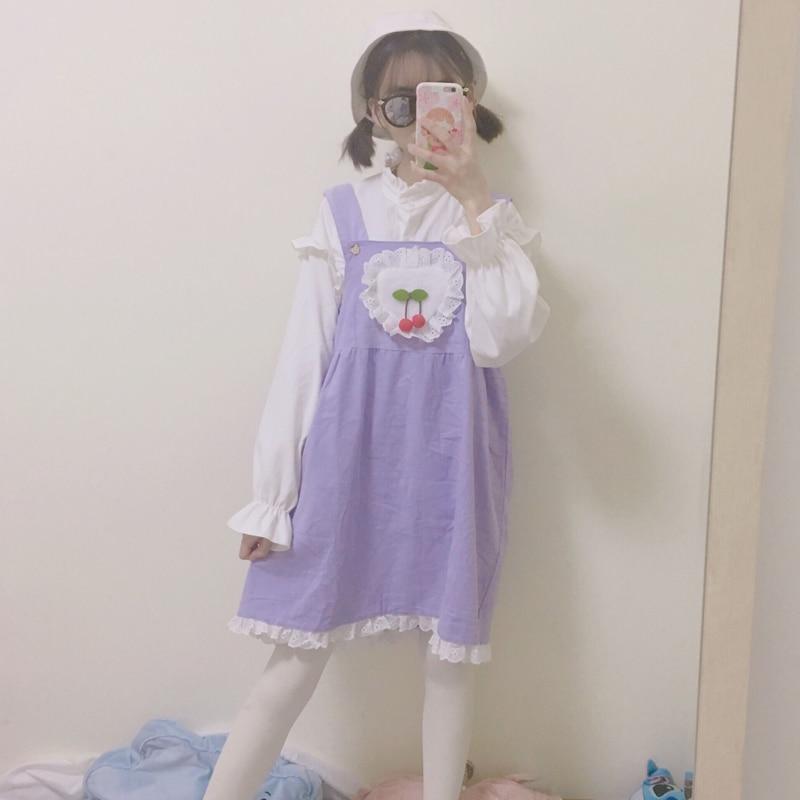 Lolita Dress Sweet Cute Puff Sleeve Japanese Kawaii Girls Princess Maid Vintage Pink Green Women Summer Skirt Round Collar