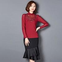Neue Mode Frauen Shirts Netz Turtleneckading Dünnen Satz Schneckenwelle Bluse Hemd Rosa Schwarz Licht Lila Wine Red 6058
