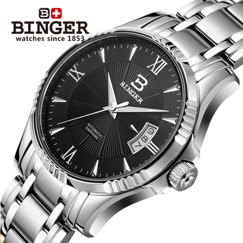 Switzerland BINGER Watch Men Luxury Brand Japan MIYOTA Automatic Mechanical Men Watches 100M Swimming Waterproof Clock