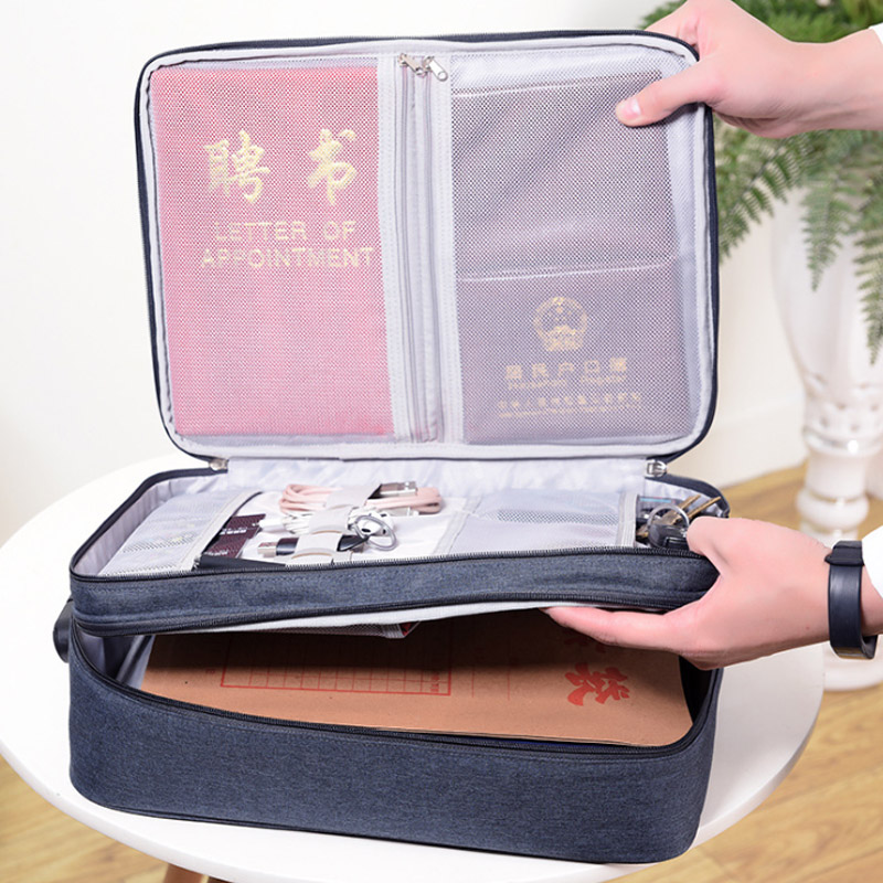 Multi-functional Layer Double Document Bags  Business Briefcases Handbag Portable Waterproof Cloth Organized Zip Tote Accessorie