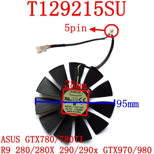 EVERFLOW T129215SU  95mm 12V 0.5A 28X28X28X28mm for ASUS GTX780/780TI R9 280/280X 290/290x GTX970/980 Cooling fan su gx 5s r