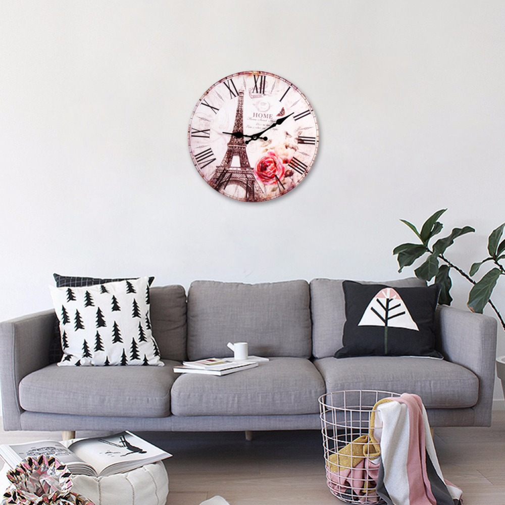 living room wall clocks. New Home Decoration Roman Numeral Wall Clock Silent Living Room The Eiffel Tower Modern Meeting Gift-in Clocks From E