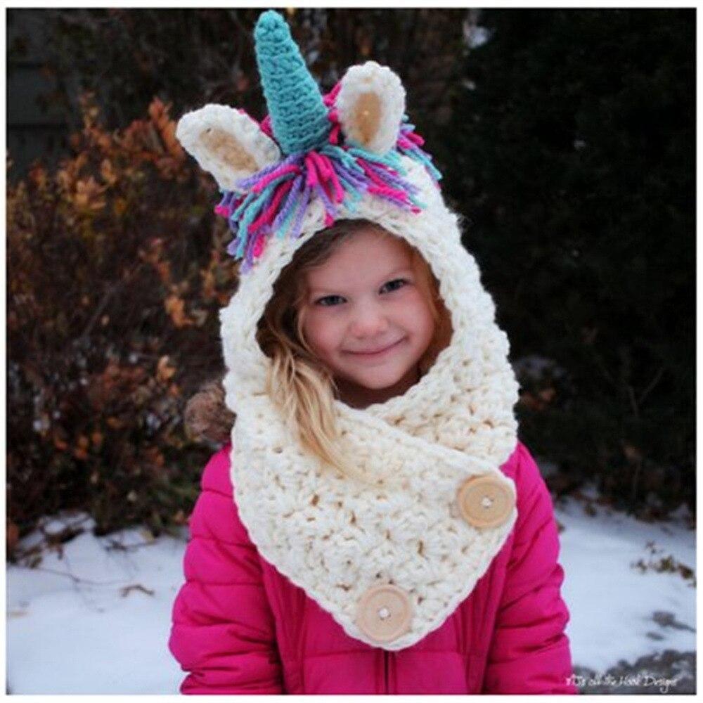 2018 kinder Winter Hüte Mädchen Jungen Kinder Einhorn Crochet Warm Caps Schal Set Baby Motorhaube Cartton Nette Hut für Mädchen junge