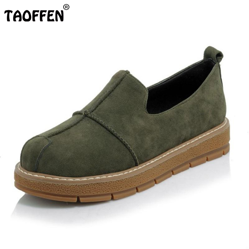 TAOFFEN Size 30-45 New Fashion Ladies Flats Women Soft Slip-On Shoes Round Toe Low Heel Flats Fashion Classic Leisure Footwear vintage embroidery women flats chinese floral canvas embroidered shoes national old beijing cloth single dance soft flats