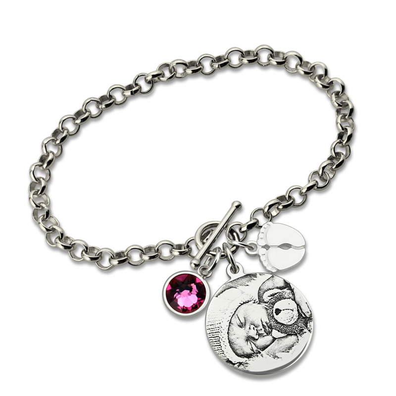 Ailin Personalized Photo Engraved Bracelet Sterling Silver