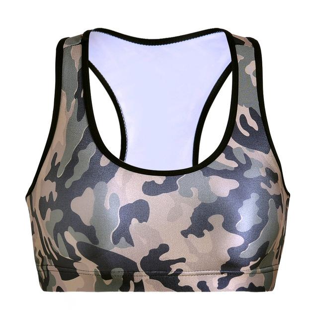 Moda de Impressão Digital de Camuflagem Verde Top Colheita Sutiã Livre Fio de Fitness Mulheres Bustier Topos Curto Tanque Treino Top Bralet Bralette