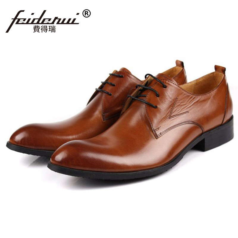 Classic Formal Brand Man Busiess Dress Shoes Genuine Leather Designer Oxfords Round Toe Men's Wedding Footwear For Male CA34 mycolen mens shoes round toe dress glossy wedding shoes patent leather luxury brand oxfords shoes black business footwear