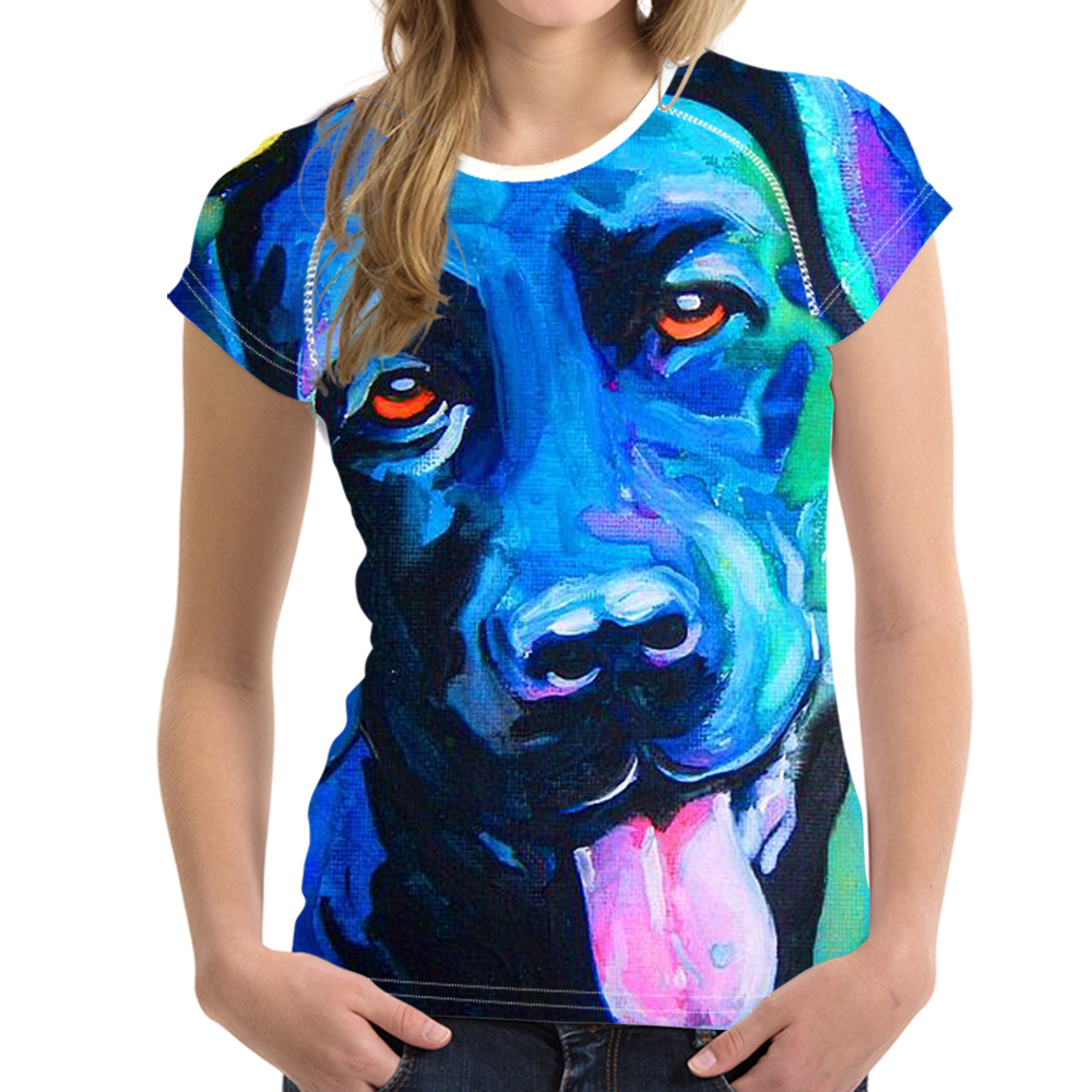 Noisydesigns Funny 3D Dog Labrador Retriever Women T Shirt Elastic Woman Casual T-shirt Short Sleeved Female Tops Tees Fit Black