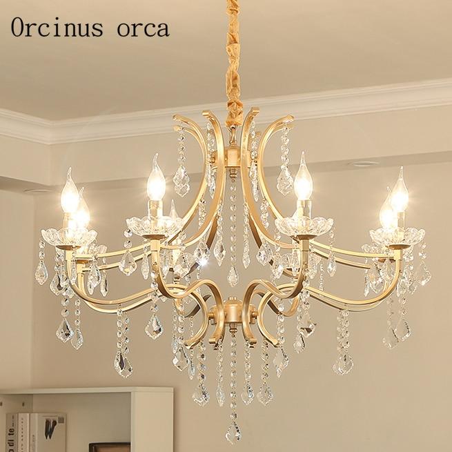European retro luxury gold crystal chandelier living room bedroom American modern simple LED crystal chandelier free shipping