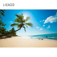 Laeacco Tropical Backgrounds Summer Sea Beach Sand Cloudy Blue Sky Holiday Scenic Photography Backdrops Photocall Photo Studio