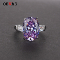 925 sterling silver Big Oval AAA Zircon Wedding rings for women Top quality Shiny Purple Pink CZ Engagement party Ring jewelry