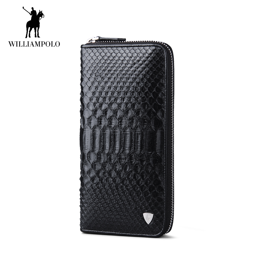 WilliamPOLO Mens Wallet Genuine Leather Snakeskin Long Clutch Credit Card Holder Multi Card Phone Purse with Zipper Pocket 181