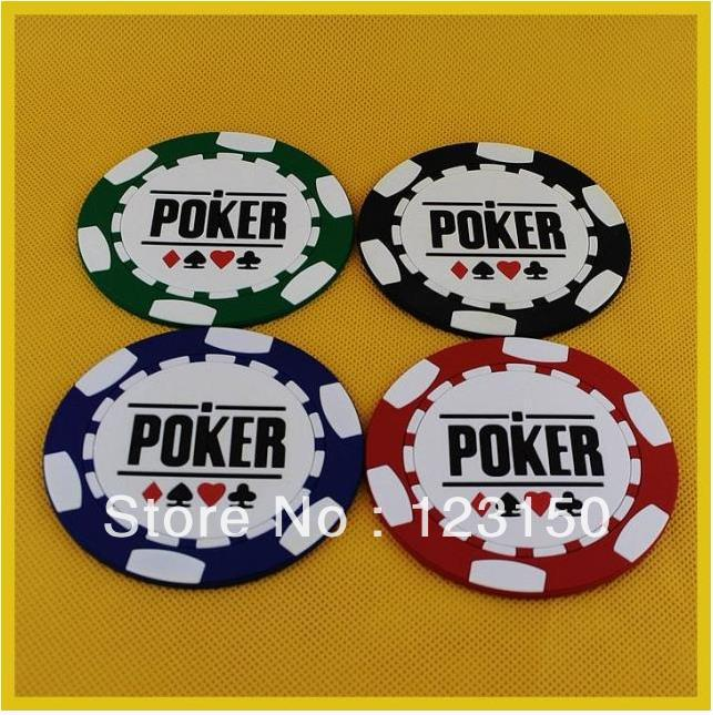 TA-010 4PCS Different Color Texas Poker Coasters PVC