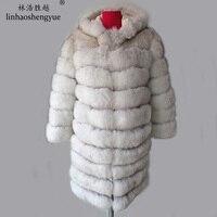Linhaoshengyue Sleeve long 50cm 90CM long real fur fox coat with hood