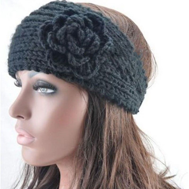 Winter Ladys Nice Crochet Flower Ear Hairband Headwrap Knitted Warm
