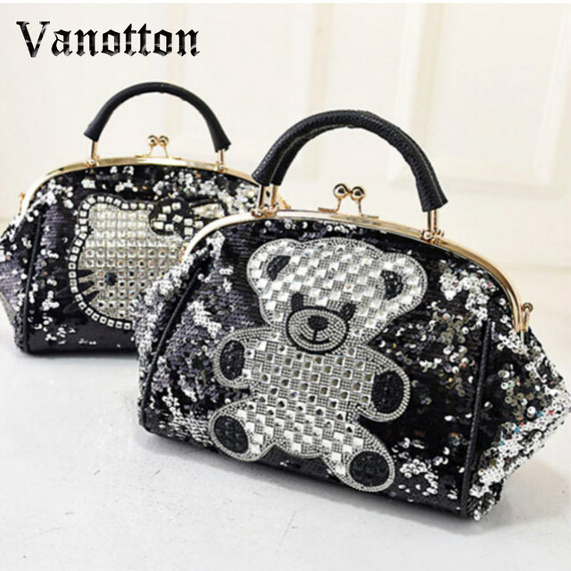 e19bf02997fc Luxury Famous Brand Women Female Sequined Bags Leather Hello Kitty Handbags  Shoulder Tote Bolsos Mujer De Marca Sac De Marque