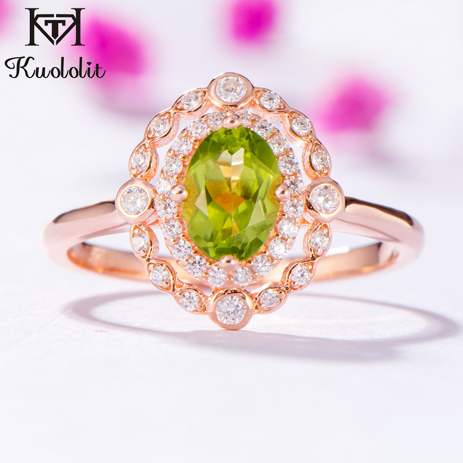 Kuololit Natural Peridot Gemstone Rings for Women 925 Sterling Silver Oval Cut Stone Rose Gold Ring Engagement Fine JewelryKuololit Natural Peridot Gemstone Rings for Women 925 Sterling Silver Oval Cut Stone Rose Gold Ring Engagement Fine Jewelry
