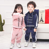 בייבי בני בנות חורף בגדי ילדי חליפות ספורט אופנה לשמור על משלוח חם גיזת קפוצ 'ון + מכנסיים צבע טהורים זיעת ילדי cothing