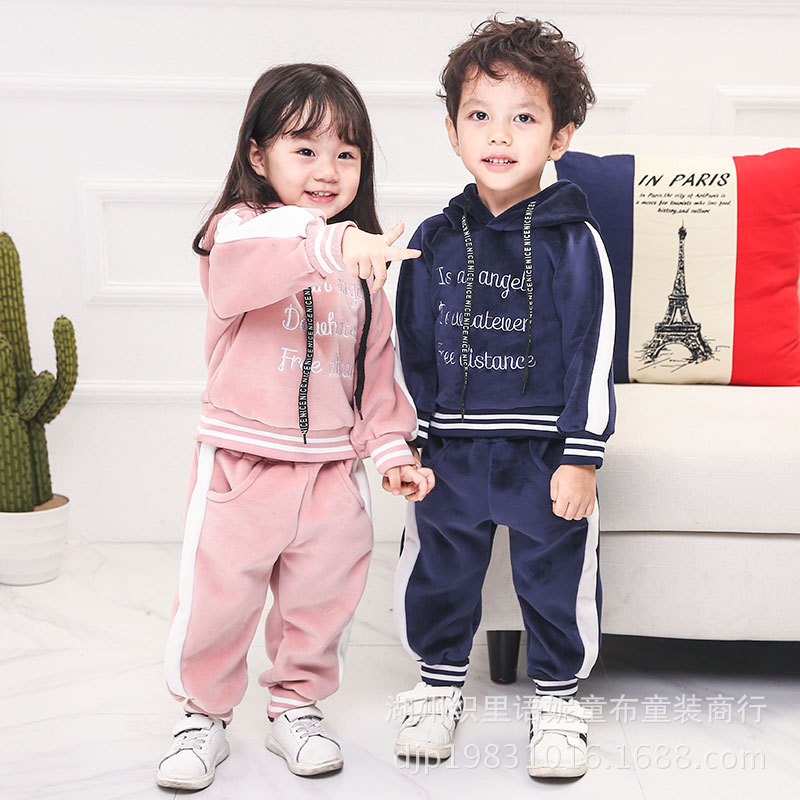 baby boys girls winter sports suits kids clothes fashion keep warm fleece hoodie + pure color pants children sweat cothing envsoll winter warm baby kids girls