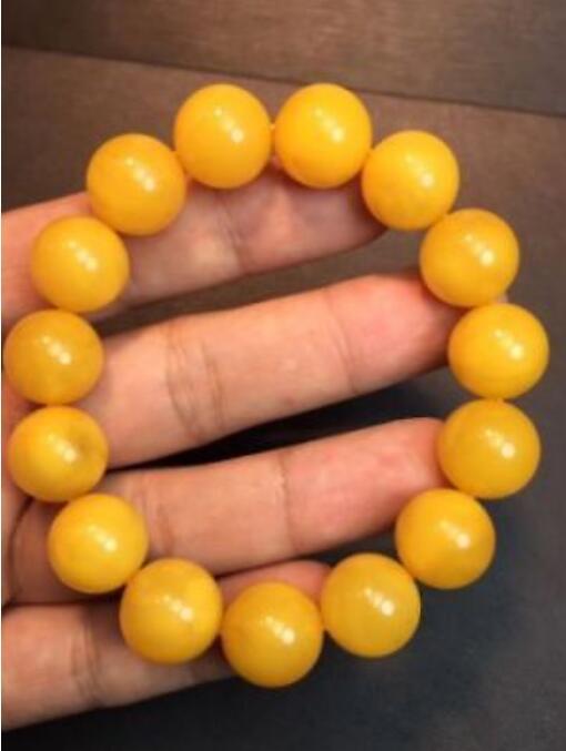 14mm Genuine round beads baltic amber Bracelet egg yolk butterscotch
